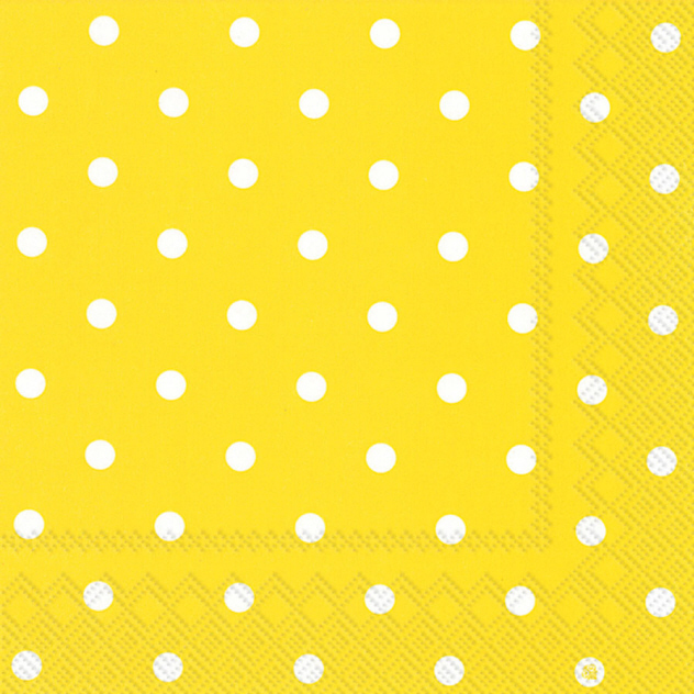 Yellow And White Polka Dots Luncheon Napkins Modern Lola