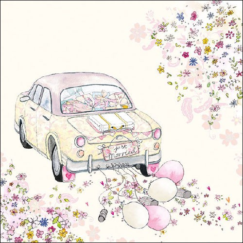 Just Married Car Cans Luncheon Paper Napkins Modern Lola