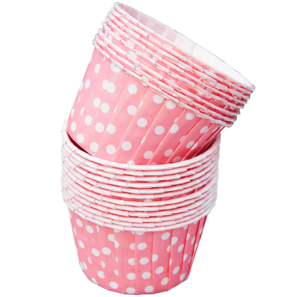 Pink And White Polka Dot Small Paper Squeeze Cups Set Of