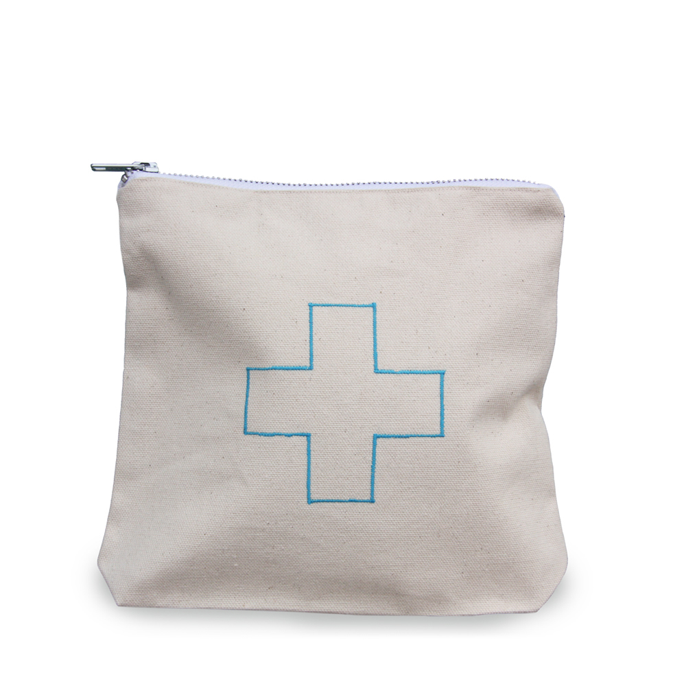 Blue First Aid Canvas Small Zippered Pouch Modern Lola