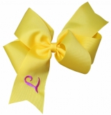 Large Yellow Monogrammed Initial Ribbon Bow