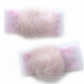Mini Pink Fur Ball Set of 2 Hairclips
