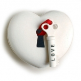 """Key-To-Your-Heart"" White Porcelain Heart Box"
