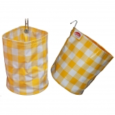 Yellow and White Large Check Organizing Vinyl Pouch