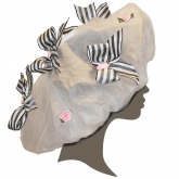 Eloise Black and White Stripe Bows Shower Cap