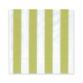 Kiwi Lime and White Stripe Beverage Paper Napkins