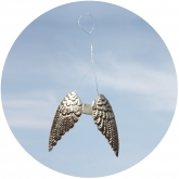 Small Metal Angel Wings Ornament Set of 2