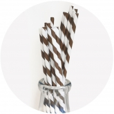 Chocolate Brown and White Stripe Paper Straws Set of 23