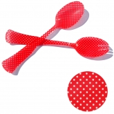 Red and White Polka Dot Translucent Salad Serving Set of 2