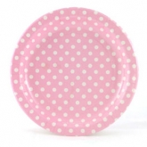 Baby Pink and White Polka Dot Dinner Paper Plates
