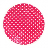 Fuschia and White Polka Dot Dinner Paper Plates