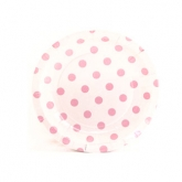 White and Pink Polka Dot Dessert Paper Plates
