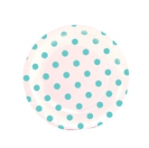 White and Baby Blue Polka Dot Dessert Paper Plates