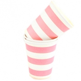 Baby Pink and White Stripe Paper Cups