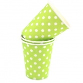 Lime and White Polka Dot Paper Cups