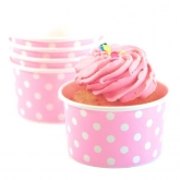 Baby Pink and White Polka Dot Ice Cream Paper Cups