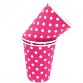Raspberry and White Polka Dot Paper Cups