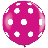 Oversized Wild Berry and White Polka Dot 3ft Latex Balloon
