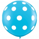 Oversized Robin's Egg Blue and White Polka Dot 3ft Latex Balloon