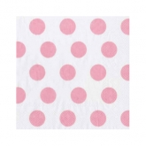 Baby Pink and White Large Polka Dot Beverage Paper Napkins