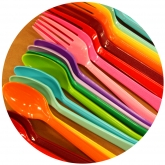 Rainbow Extra Heavy Weight Plastic Cutlery Set of 12