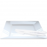 "Square Plastic White Large 10.75"" Dinner Plates"