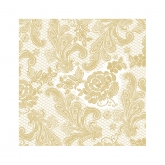White and Gold Chantilly Lace Beverage Paper Napkins