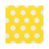 Sunshine Yellow and White Beverage Paper Napkins