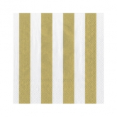 Gold and White Stripe Beverage Paper Napkins