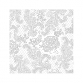 Silver and White  Chantilly Lace Beverage Paper Napkins