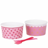 Sweet Bowls & Spoons Pink Dot and Stripes