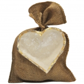 Cream Heart Ornament with Gold Border