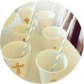 White Paper Cups with Gold Dimmentional Cross Stickers Set of 24