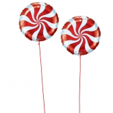 Red and White Candy Swirl Large Foil Balloons Set of 2