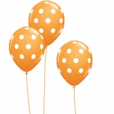 Orange and White Polka Dot Balloons Set of 10