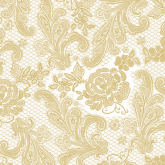 White and Gold Chantilly Lace Luncheon Paper Napkins