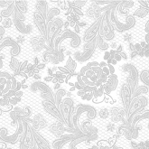 White and Silver Chantilly Lace Luncheon Paper Napkins
