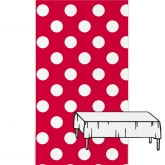 Red and White Plastic Tablecover