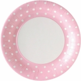 Pink and White Polka Dot Dinner Paper Plates