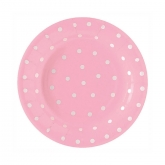 Pink and White Polka Dot Dessert Paper Plates