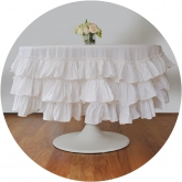 White Ruffle Round Tablecloth