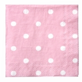 Pink and White Polka Dot Beverage Paper Napkins