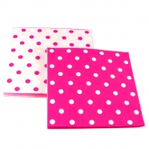 Reversible Raspberry and White Polka Dot Paper Napkins