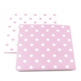 Reversible Pink and White Polka Dot Paper Napkins