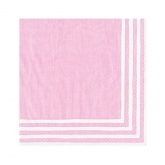 Pink and White Stripe Border Beverage Paper Napkins