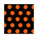 Orange and Black Polka Dot Beverage Paper Napkins