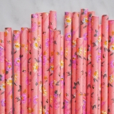Coral Floral Dainty Paper Straws
