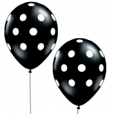 "16"" Black and White Polka Dot Balloons Set of 10"