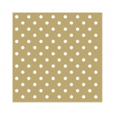 Metallic Gold and White Small Polka Dot Beverage Paper Napkins