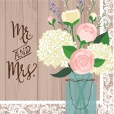 Mr. and Mrs. Lace Bouquet Luncheon Paper Napkins